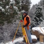 Surveying in Idyllwild snow