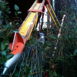 Tripod balanced precisely on a Fence in Idyllwild.